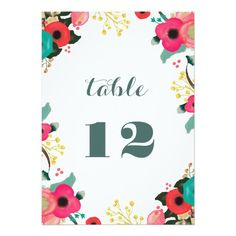 """Elegant Romantic Floral Design Wedding Table Number Cards 5"""" X 7"""". Matching Wedding Party Invitations, Bridal Shower Invitations, Save the Date Cards, Wedding Postage Stamps, Bridesmaid to be Request Cards, Thank You Cards and other Wedding Stationery , Favors and Gifts available in the Modern Design Category of the youweddingday store at zazzle.com"""