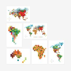 Pixel Map 'Colors of the World' Print Set of 6 // by TofufuStudio