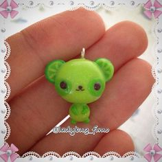 Based on a drawing on internet... A lime panda party yep  #polymerclay #clay #cernit #fimo #bear #lime #green #orso #oso #orsetto #teddy #charm #kawaii #superkawaii #supercute #cute #fruit #friends #frutta #juice