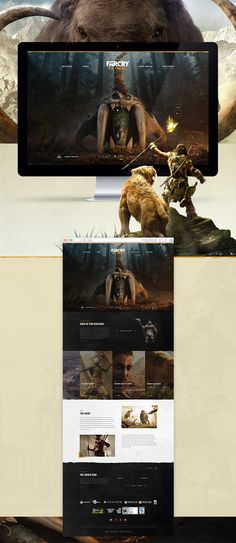 Website design for Far Cry Primal. The game takes you back to the Stone Age when man was definitely not at the top of the food chain. Danger lurked around every corner during the daytime, and nighttime brought a fresh set of terrors. Far Cry Primal, Web Layout, Layout Design, Web Mockup, Web Design Inspiration, Design Ideas, Interface Design, Site Design, Interactive Design