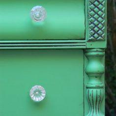 Emerald Dresser by Suzanne Bagheri www.thepainteddrawer.com in Annie Sloan chalk paint Antibes Green