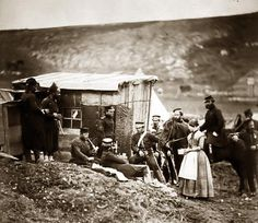 Crimean War - Camp of the 4th Dragoons, convivial party, French & English - by Roger Fenton, 1855