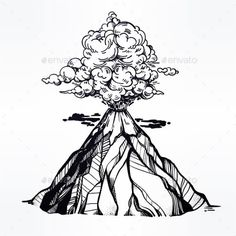Vector Hand Drawn Sketch of the Volcano. by itskatjas Hand drawn volcano. The eruption and smoke against the sky with clouds. Friend Tattoos, Life Tattoos, Body Art Tattoos, Small Tattoos, Volcano Drawing, Pen Art, Art Sketchbook, Traditional Tattoo, Tattoo Artists