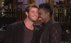 Promo videos starring Chris Hemsworth and SNL cast members Leslie Jones and Kate McKinnon depict the 'Thor' actor as a sex symbol.