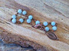 Amazonite Beaded Wire Wrapped in Copper - Bracelet - Bohemian Courage and Hope by Angelof2, $24.00