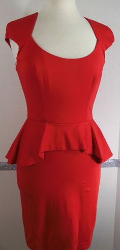 Bebe Peplum Dress Size Small Red Open back Rayon Nylon Spandex Valentine's Day #bebe #Peplum #Cocktail