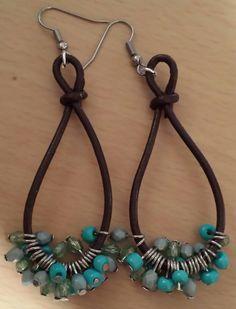 Brown Leather & Beaded Earrings $10