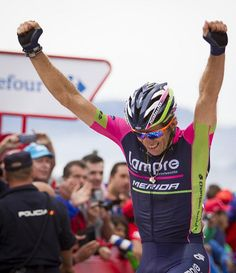 Przemyslaw Niemiec claims the stage 15 Vuelta 2014 Photo credit © AFP Cycling News, Pro Cycling, Bicycle Helmet, Photo Credit, Win, Racing, Merida, Stage, Oviedo