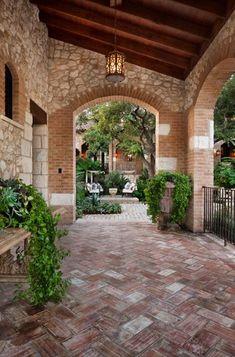 herringbone patterned brick floor in a Spanish-style courtyard Courtyard Hacienda Patio Flooring, Brick Flooring, Patio Design, Exterior Design, Courtyard Design, Brick Design, Fence Design, Outdoor Rooms, Outdoor Living