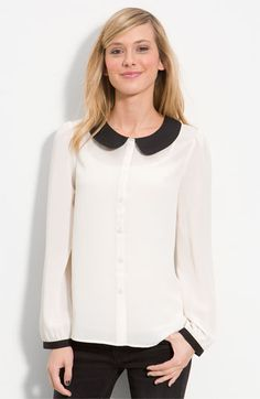 Peter Pan Collars have been all the rave this fall. This one is a steal at $44 by Frenchi from Nordys