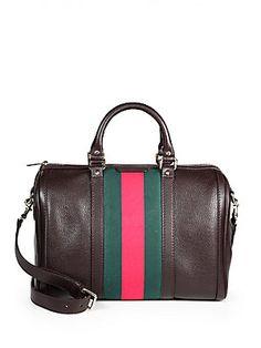 Brown and black! Gucci Vintage Web Medium Boston Bag