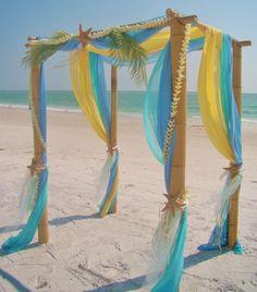 My favorite canopy Aqua, lemon & light blue; by Sand Petal weddings