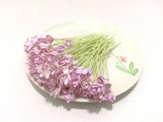 50 Mini Purple Gypso Gypsophila Mulberry Paper Flowers Wedding Card Scrapbook #Handmade