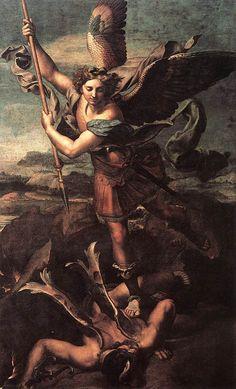 Raphael Sanzio (Italian: Raffaello) (1483 - 1520)  St. Michael Vanquishing Satan,  Louvre, Paris, France