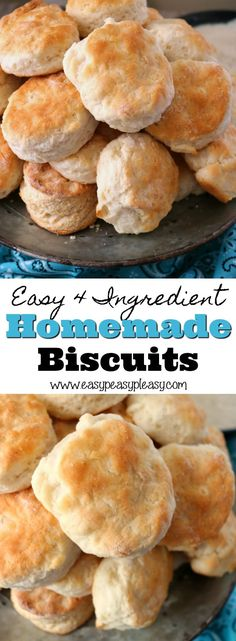 Homemade Biscuits Using Only 4 Ingredients Y'all are going to love these delicious and fluffy homemade biscuits recipe. It only takes 4 ingredients. I've been trying to make a good homemade biscuit for years and Pops finally taught me how. Quick Biscuit Recipe, Butter Biscuits Recipe, Quick Biscuits, Homemade Biscuits Recipe, Homemade Butter, Making Biscuits, Biscuit Recipe With Milk, Buttermilk Biscuit Recipe With Self Rising Flour, Betty Crocker Biscuit Recipe
