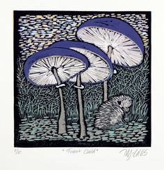 Forest Child, last print, linocut reduction by Mariann Johansen-Ellis - view in room