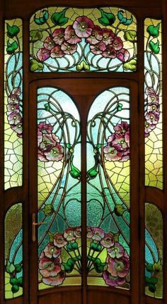 Art Nouveau Stained Glass Door House Ideas For 2019 Stained Glass Door, Leaded Glass, Mosaic Glass, Glass Doors, Fused Glass, Mirror Glass, Design Art Nouveau, Motif Art Deco, Art Nouveau Interior