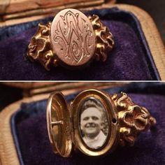 "Victorian ""JW"" Photo Locket Ring, 15k rose gold, c. 1890."