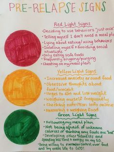 """Pre-Relapse Traffic Light: This activity helps to raise awareness about the often-overlooked """"yellow light"""" behaviors that can lead to relapse. Eating Disorders"""