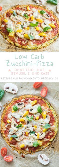 Ein weiteres tolles Low Carb Pizza-Rezept: Low Carb Zucchinipizza!Das Experiment, eine Zucchini-Pizza ohne Teig, ist mehr als geglückt. So gut wie keine Kohlenhydrate, aber viel Geschmack! #pizza #lowcarb #zucchini #ohnemehl #kohlenhydratarm #backenmachtgluecklich Low Calorie Pizza, Calories Pizza, Homemade Pizza Crust Recipe, Best Homemade Pizza, Best Cauliflower Pizza Crust, Zucchini Pizza Crust, Zucchini Pizza Recipes, Vegan Zucchini, Healthy Pizza