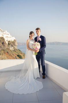 Wedding Couple, Caldera View, Blue Sky, Bride And Groom, Style, Trend, Art, In Love, Happy, Joy, Santorini Weddings