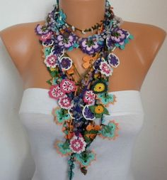 Crocheted Flower Necklace Oya with semiprecious stones