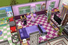 House 3 / 2nd building / 2nd floor / teen girl's bedroom / pink and purple / with walk in closet and girly bathroom