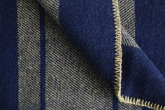 Amana Woolen Mill Camp Throw in Navy   Tan Camping Blanket 24bf0e03a
