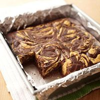 Peanut Butter Swirl Chocolate Brownies (Diabetic Friendly)  These two-tone brownies are so rich and luscious, no one will believe how low in fat and calories they are.  YIELD: 20 brownies  CARB GRAMS PER SERVING: 17