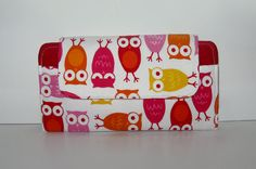 Owl Smart Phone Wallet Clutch Red and Orange by ThePerfectWallet, $69.00
