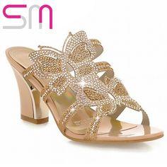 2015  Women Leisure Thick Heel Sandals Fashion Rhinestone Sandals Sexy Patch Slides Causal/Dating Women Flip-flops Women Shoes alishoppbrasil