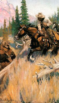 Western Art.  I love how the cowboys arm is dropped over the horses neck.
