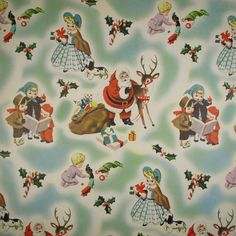 victorian christmas wrapping paper | Victorian CUTE Christmas Santa Toys Kids - Vintage Gift Wrap Wrapping ...