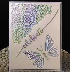 Bday Cindy March 2018 negative TH Media die in upper corner. Negative Butterfly die from China. Celebrate is from Avery Elle. The water colored piece underneath is one I did a while ago. Designed and created by Peggy Dollar Diy Birthday Cards For Mom, Homemade Birthday Cards, Homemade Cards, Making Greeting Cards, Greeting Cards Handmade, Butterfly Cards Handmade, Embossed Cards, Cricut Cards, Anniversary Cards