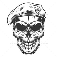 Buy Monochrome Vintage Skull by imogi on GraphicRiver. Monochrome vintage skull with seals hat.