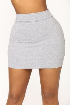 Available In Black, Heather Grey, And Orange Double Basic Band Waist Mini length. Tight Skirt Outfit, Skirt Outfits, Tight Skirts, Black Skirts, Short Skirts, Short Dresses, Denim Dungaree Dress, Denim Skirt, Leather Skirt
