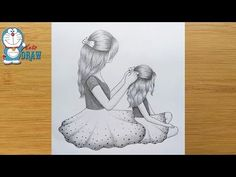 Mothers Day Drawing with Pencil sketch for beginners Pencil Sketches Of Girls, Pencil Drawing Images, Girl Drawing Sketches, Girly Drawings, Art Drawings Sketches Simple, Pencil Drawings For Beginners, Drawing Tutorials, Drawing Tips, Mothers Day Drawings