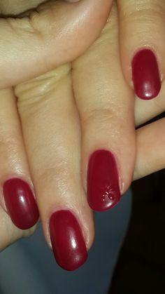 Deep red gel nails