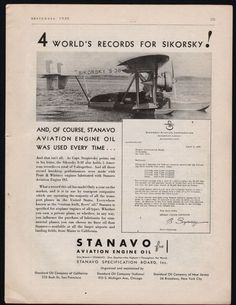 1930 SIKORSKY S-38 Antique Plane Aircraft Photo Stanavo Aviation Engine Oil AD