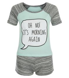 Teens Mint Green Oh No It's Morning Print Pyjama Set