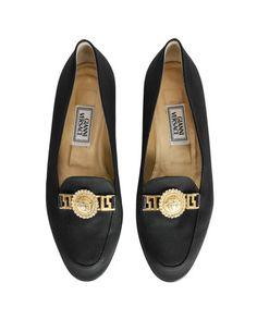 Versace Vintage Black Satin Medusa Loafers - from Amarcord Vintage Fashion