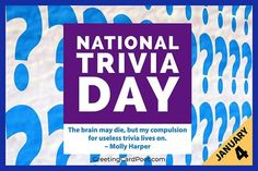 """Merriam-Webster dictionary defines """"'trivia' as unimportant matters, facts, or details."""" Unimportant or not known by mere mortals? National Trivia Day is on January 4. #trivia #TriviaDay Trivia Quiz, Trivia Questions, Trivia Games, National Celebration Days, Online Trivia, What Day Is It, January 4, Mere Mortals, Merriam Webster"""