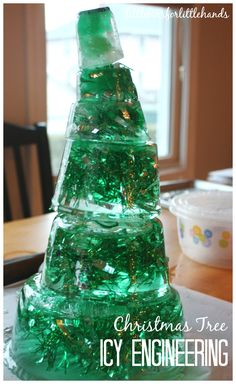 Icy Christmas Tree STEM Activity. Ice melt science, math, and engineering skills in a Christmas tree building activity. Winter STEM.