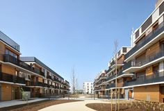 Built by Gelin-Lafon in Valenton, France with date 2013. Images by Filip Dujardin. How to design a building that generates social ties rather than a social housing building? How to create an open plac...
