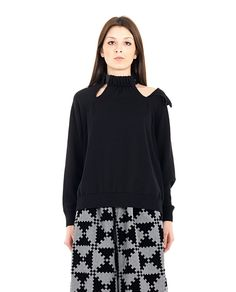 MARIOS Black merino wool sweater turtleneck with leather strap long sleeves with cuffs splits at neck height 100% WM