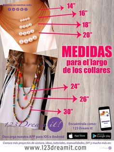 Aquí te dejamos las medidas de los largos para los diferentes tipos de collares DIY, no olvides dar click sobre la imagen para ver la info completa.