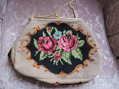 Pink & Red Rose Flowers Roses Floral Needlepoint Handbag Over Red And Pink Roses, Needlepoint Designs, Rose Flowers, Rose Design, Go Shopping, Home Decor Items, Gifts For Him, Vintage Items, Coin Purse