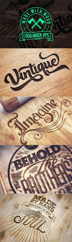 Engraved Wood Logo Mock Ups - Miscellaneous Print - Graphic Files Woodworking Quotes, Woodworking Basics, Woodworking For Kids, Router Woodworking, Woodworking Workshop, Woodworking Supplies, Woodworking Projects, Woodworking Apron, Woodworking School