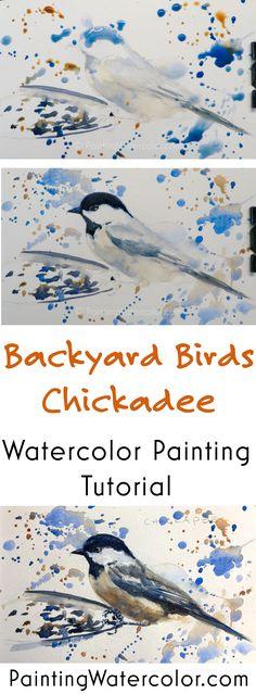 Backyard Bird Sketch, Chickadee watercolor painting tutorial by Jennifer Branch