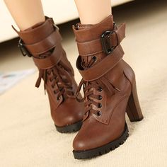 British Style Round Toe Thick High-heeled Lace Up Motorcycle Martin Boots